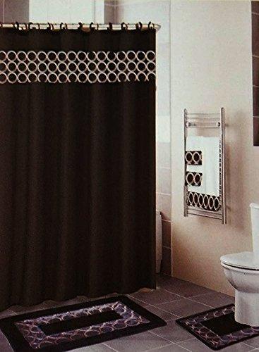 18 Piece Embroidered Bathroom Set Bath Rugs Shower Curtain H
