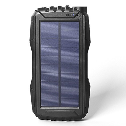 AttoPro 25000mAh Portale Solar Power Bank Shockproof/Dustproof 2.1A USB Output Battery Bank, Outdoor Solar Charger Phone External Battery with Strong LED light for iPad iPhone Android cellphones