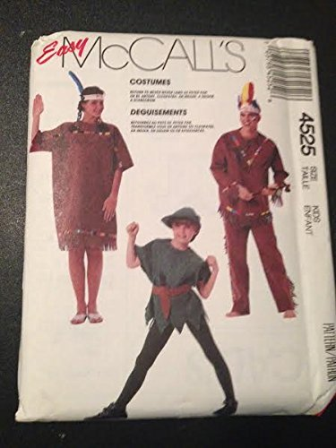 McCall's Pattern 4525 Costumes [Peter Pan, Scarecrow, Egyptian, Indian] by -