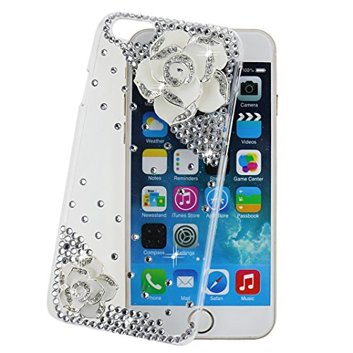 """Ancerson Hard Back Case for Apple iPhone 6 Plus (5.5"""") 3D Handmade Luxury Shining Glitter Crystal Diamond Rhinestones Cover Free with a Red Stylus Touchscreen Pen, a 3.5mm Universal Crystal Diamond Rhinestones Bling Lovely Silvery Flower Blue Panda Pendant Dust Plug and a Cleaning Cloth(Transparent Clear) (Camellia Flower White)"""