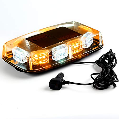VKGAT 30 LED Roof Top Strobe Lights, Emergency Hazard Warning Safety Flashing Strobe Light Bar for Truck Car, Waterproof and Magnetic Mount 12-24V (Amber/White)