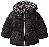 Pink Platinum Baby Girls' Metallic Fabric Puffer, Black, 24 Months