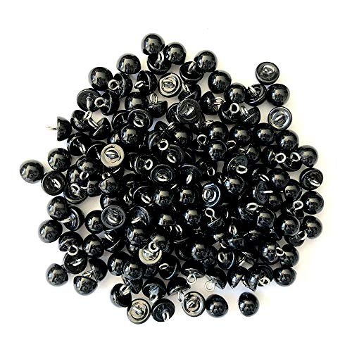 RayLineDo 100Pcs Pearl Black Bead Cap Half Ball Dome Metal Circle Hook Crafting Sewing DIY Buttons-10mm