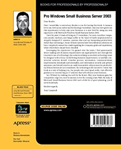 Pro Windows Small Business Server 2003 by Apress