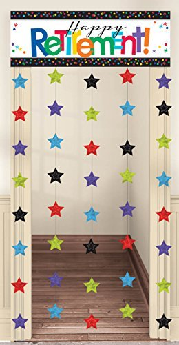 Amscan Fun-Filled Retirement Party Happy Retirement Doorway Curtain Decoration, Plastic, 39