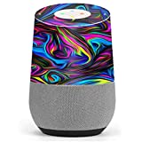 Skin Decal Vinyl Wrap for Google Home stickers skins cover/ Neon Color Swirl Glass
