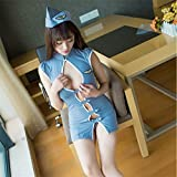 Witch-House Sexy Stewardess Erotic Costumes Maid Lingerie Women Exotic Apparel Role Play Erotic Lingerie,Blue,One Size