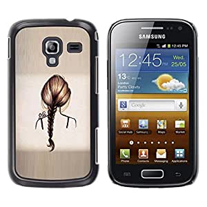 LECELL--Funda protectora / Cubierta / Piel For Samsung Galaxy Ace 2 I8160 Ace II X S7560M -- Hair Grey Ponytail Brushed Metal --