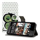 kwmobile? Chic leather case for the HTC Desire 300 with convenient stand function - Owl design in Green White etc. by KW-Commerce