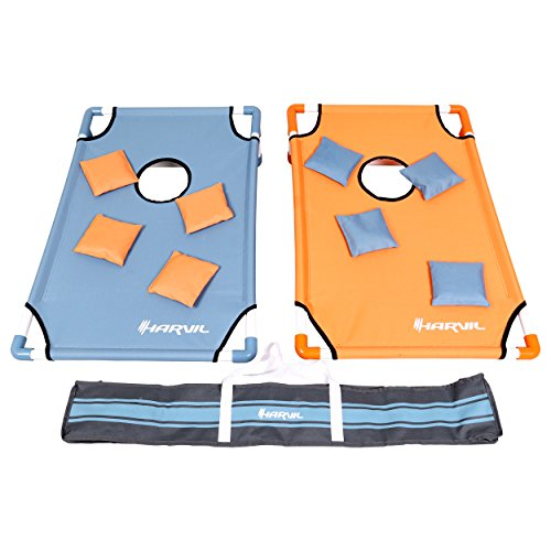 Harvil Portable Premium PVC Framed Cornhole Game Set with 8 Double-Lined Bean Bags and Carrying Case by Harvil