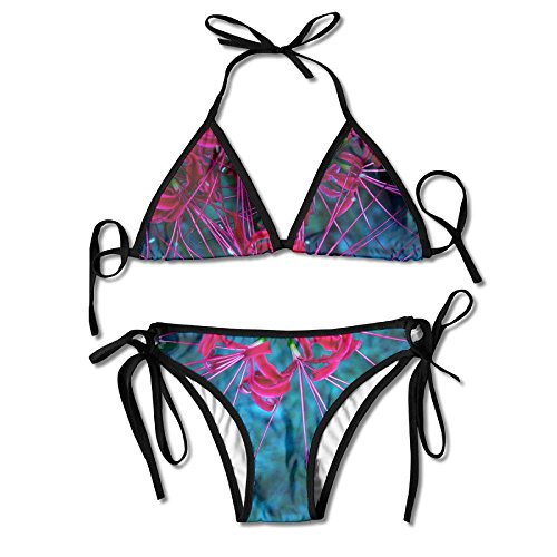 MONGBIJI Abstract Cluster Amaryllis Womens Push Up Padded Bikini Floral Printing Bottom Swimsuit