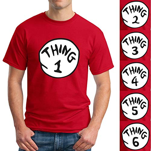 Dr. Seuss Thing 1 Thing 2 Adult Shirt - Thing 1-6 Halloween Costume (M, Thing 1) Red
