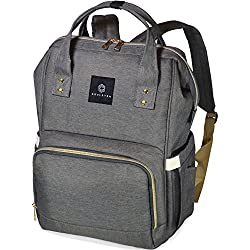Baby Backpack Diaper Bag, Stylish for Mom & Dad, Multi-Function & Large Capacity Nappy Bags for Boys & Girls, Waterproof & Durable for Travel, Gray