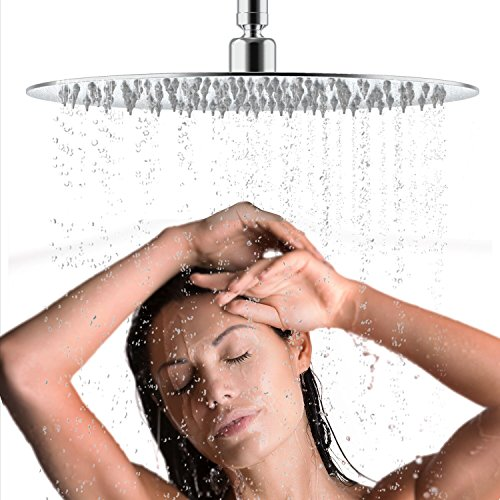 LuckIn Ultra Thin Rain Showerhead Polished Chrome, 12 Inch Fixed Shower Head Stainless Steel High Pressure Waterfall Shower Silicone Nozzle Round Heads for Bathroom, Silver