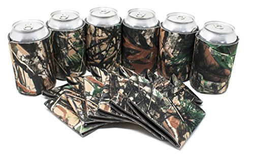 (TahoeBay 25 Can Sleeves - Camo Beer Coolies for Cans and Bottles - Bulk Blank Drink Coolers – Create Custom Wedding Favor, Funny Party Gift (Camo,)