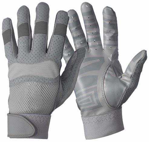 Gray Football Receiver Glove - Neumann Adams Gripper II Youth Football Receiving Gloves - Gray - Youth Large