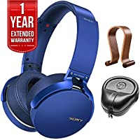 Sony XB950B1 Extra Bass Wireless Headphones with App Control Blue 2017 model (MDRXB950B1/L) with Wood Headphone Stand, HardBody PRO Full Sized Headphone Case Black & 1 Year Extended Warranty