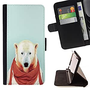 - Bear Funny - - Style PU Leather Case Wallet Flip Stand Flap Closure Cover FOR Sony Xperia Z2 D6502 - Devil Case -