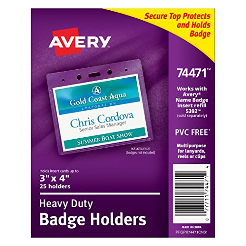Avery Heavy-Duty Landscape Badge Holders, Clear, 3