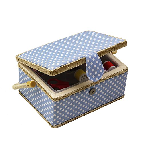 D&D Sewing Basket Kit, Sewing Box Organizer - Includes Sewing Accessories/Removable Tray/Handle/ Built-in Pin Cushion & Interior Pocket - Blue Polka Dot - Medium 9.5 x 6.9 x 5.1 inches - by Design by D&D