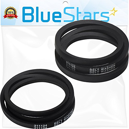 Replacement Washer Belt (Ultra Durable 211124 & 211125 Washer Belt Set by Blue Stars - Exact Fit for Whirlpool Maytag Jenn-Air Washer - Replaces 12112425 12112425VP 210024)