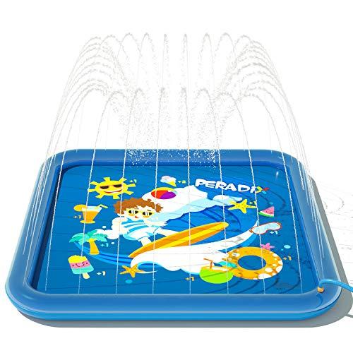 Peradix Splash Pad,Tapete de Juegos de Agua 170CM Almohadilla de Aspersor de Juego,Jardín de Verano Juguete Acuático para Niños ,Almohadilla de Rociadores,PVC Splash Play Mat , Piscina Tapete Acuático