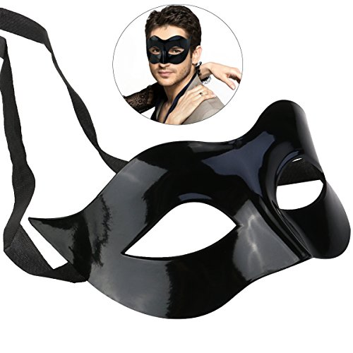 WINOMO Masquerade Costume Mask Black for Men Women Party (Man Of Mystery Mask)