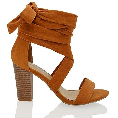 ESSEX GLAM Womens Lace Up Block Heel Ankle Tie Wrap Ladies Peep Toe Sandal Party Shoes Mocca/Brown Faux Suede SPKqOqiKL