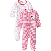 Gerber Baby Girls' 2 Pack Zip Front Sleep 'n Play,Dalmation,Newborn