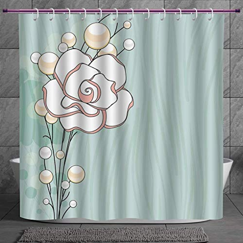 Pearl Blue Toronto (SCOCICI Polyester Shower Curtain 2.0 [ Flower,Romantic Rose Sign of Eternal Love with Pearls The Purity Icon Print,Baby Blue White and Pink ] Polyester Fabric Bath Decorative Curtain Ideas)
