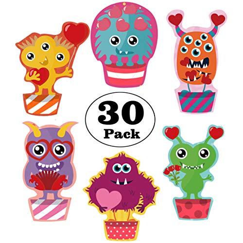 30 Monster Valentine Scratch & Sniff POP Out Valentine Bookmarks, Super Valentine Card Pack for Kids/Roommate/Classmates - Valentine Bookmark