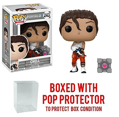 Funko Pop Games: Chell Collectible Vinyl Figure with Portal Gun (Bundled with Pop Box Protector CASE)