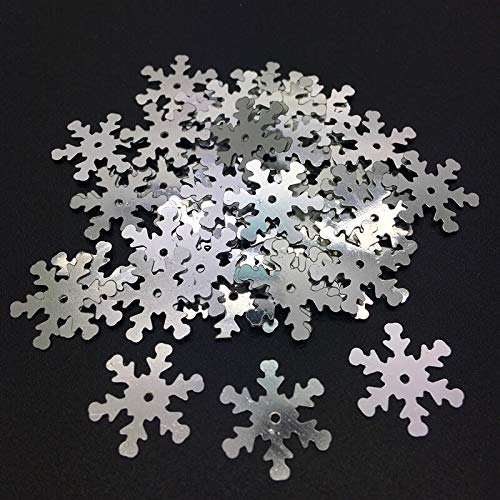 New 100pcs 18mm Christmas Snowflake Loose Sequins Paillettes Sewing Craft U Pick (Color - Silver) ()