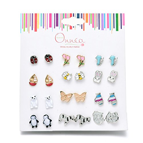 12 Pack Hypoallergenic Assorted Flower Animal Stud Earrings Set for Girls Children Pierced Earrings