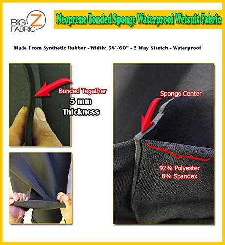 (Neoprene Bonded Sponge Waterproof Wetsuit Fabric Black 1MM, 2MM, 3MM, 4MM, 5MM Thick Sold by The Foot (5MM - by The Foot))