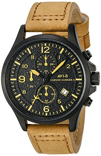 AVI-8 Men's AV-4001-09 Hawker Harrier II Stainless Steel Watch with Beige Leather Band