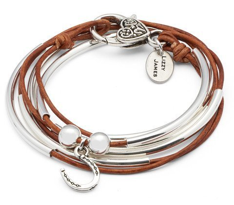 Girlfriend Wrap with Horseshoe Charm Silverplate Small Bracelet Necklace with Natural Brown Leather Wrap by Lizzy James (Charm Small Horseshoe)