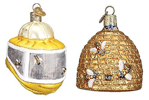 Set of Bee Skep and Beekeeper's Hood Christmas Ornaments]()