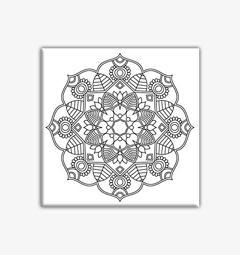 Flower Mandala Coloring Canvas For Adults Stretched Primed To Color 8 X Inches