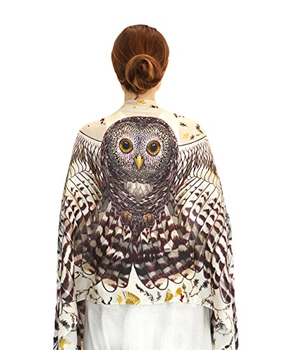 Pure Cotton Hand Painted Owl & Digitally Printed Day Owl Wings Scarf, Shawl