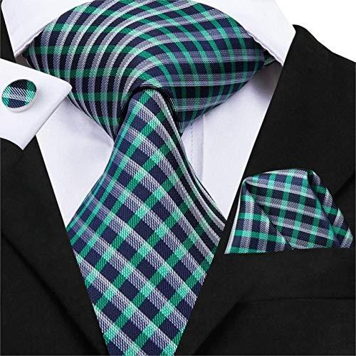 XIAMAZ Moda Clásica Hombres Moda Comercial Azul Negro Rayas Sólido ...