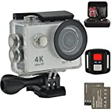 Action Camera 4K Ultra HD Action Video Camera 12MP Wifi Sports Camera Waterproof Camera 170 Degree Wide Angle Lens 2.4G Remote Control 2Pcs 1050mah Batteries with Full Accessory Kits