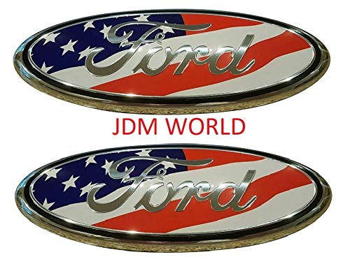 2 pcs SET 2005-2014 Ford F150 USA UNITED STATES FLAG Oval 9' 3.5' Front Grille & TAILGATE Replacement Badges Emblem logos Medallion Name Plate PAIR JDM WORLD