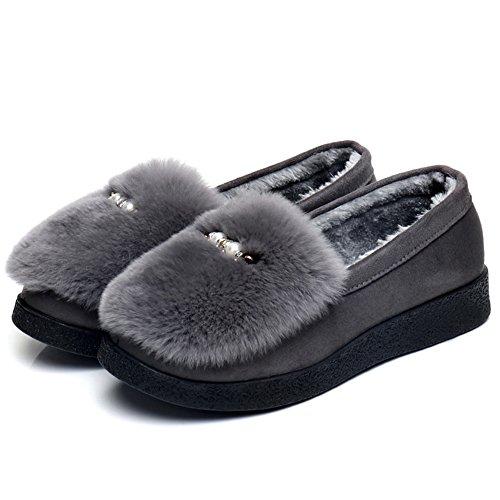 Schuhe Herbst 2 Hausschuhe Warme Winter Baumwolle Monatlich ZZHF Größe Hausschuhe Damen Farben Optionale Warme Schuhe Innenschuhe Mode A Dicke Flache Optionale und 64wxSf