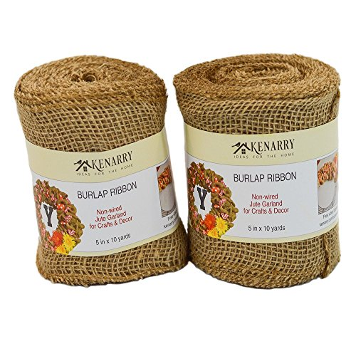 - Burlap Ribbon, Wide Natural, 5 Inch x 10 Yard Loose Weave Roll for Crafts and Decor (2 Rolls)