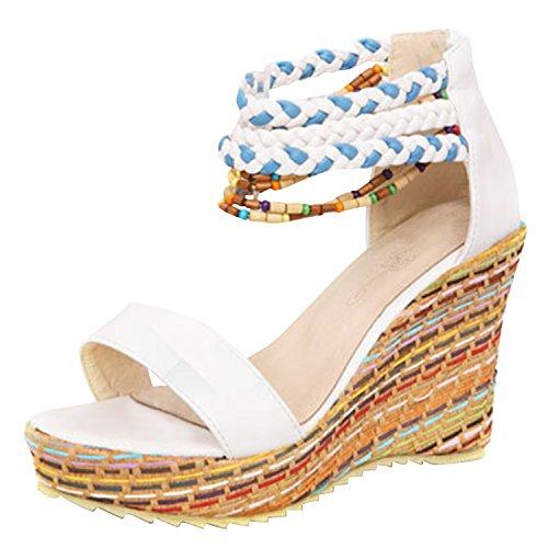 Azbro Mujer Zapatos Estilo Boho Puntera Abierta con Cuentas de Tacón Cuña Beige