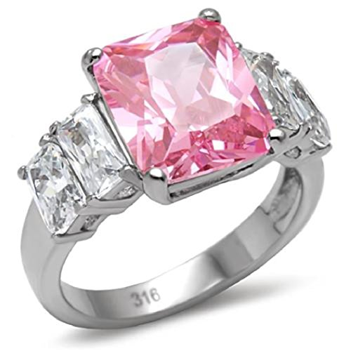 Pink Princess Cocktail Ring - Stainless Steel Cocktail Ring With Rose Pink Princess Cut Cubic Zirconia (8)