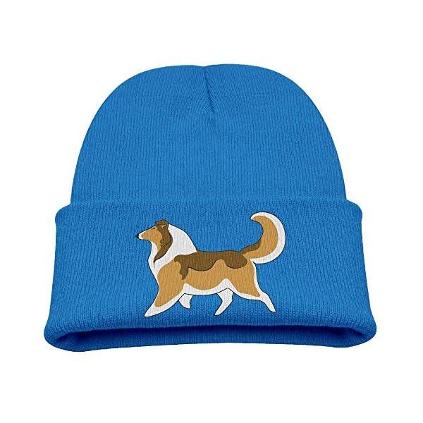 OJNGE8VERVD Boys Knitted Hat Rough Collie Winter Warm Skull Caps Children Soft Girls Bun Beanie 1