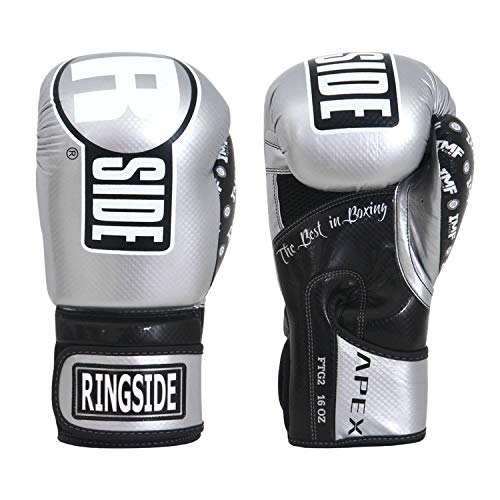 Ringside Apex Flash Hook and Loop Sparring Boxing Gloves White//Black