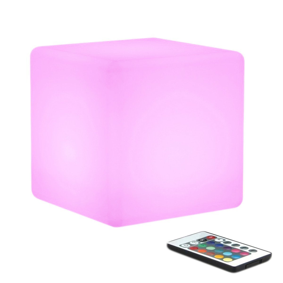 WONFAST LED Mood Cube Light, Waterproof Rechargeable LED Bedside Table Lamp,Night Light with 16 Color Change and 4 Flash Modes,Suits for Outdoor Indoor Decoration (15x15x15cm)